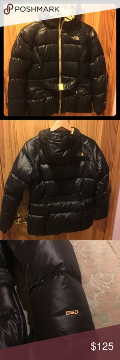 Gorgeous North Face girls puffer coat, size 18. This coat has a black exterior and gold interior.  It's very warm and great for those cold weather days. My daughter outgrew it before she had a chance to wear it. The North Face Jackets & Coats Puffers