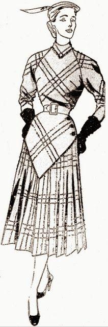 """ANOS DOURADOS: IMAGENS & FATOS: FATOS - M O D A: Vestidos dos anos 50  (1952) Vestido mantô com mangas inteiriças, discreto decote em """"V"""" e ombros redondos."""