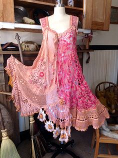 Luv Lucy Crochet Dress Victorian Gypsy  vintage buttons boho