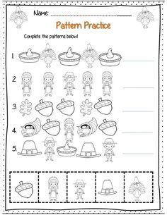 1st grade Thanksgiving patterning page part of 22 page common core aligned math packet!