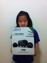 JS 『JAVI』三件式 2.1 重低音 喇叭 (H102) 【鈦黑色】,得標價格59元,最後贏家黃小玉:很高興可以得標JS『JAVI』三件式 2.1 重低音喇叭, 謝謝快標網 !