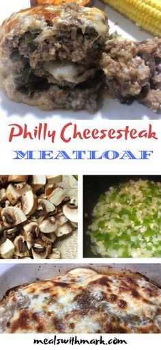 This meatloaf is stuffed with green peppers, onions, mushrooms, and cheese and then topped with even more cheese! The taste of a Philly Cheesesteak without the bun! And in my opinion even more flavor. This will be your new favorite Meatloaf! #meatloaf #phillycheesesteak #provolone #meatloaffordinner