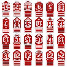 Blogg - Kalendervotter Christmas Knitting Patterns, Mittens, Advent Calendar, Diy And Crafts, Knit Crochet, Holiday Decor, Gloves, Projects, Creative