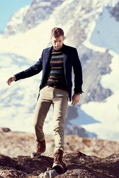 J.Crew Fair Isle Sweater, blazer, and chinos. And those boots!