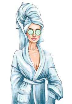 Fashion IllustrationA Hand Drawn Illustration Of A Woman In A Spa Bathrobe With A Mask Stock Illustration - Illustration of caucasian, bathrobe: 179505394 Beauty Illustration, Digital Illustration, Girl Cartoon, Cartoon Art, Aesthetic Photography Nature, Fashion Wall Art, Arte Pop, Fashion Sketches, Art Girl