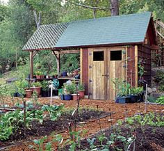Potting Shed:  Inside Storage with outside workbench.