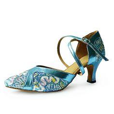 Women's Leatherette / Satin Upper Ankle Strap Latin / Ballroom Dance Shoes