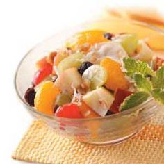 """Morning Fruit Salad Recipe -""""My best friend made this refreshing salad for lunch one hot summer day,"""" says Nikki Gaines of Covington, Georgia. """"It was so good, I just had to have the recipe. Now I make it every chance I get. It's always a hit at picnics and church brunches."""""""