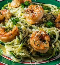 Zucchini Noodle Alfredo with Garlic Shrimp - Tasty Low Carb