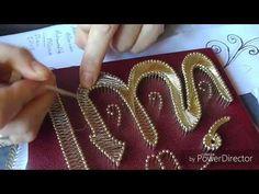 Filografi- Allah Lazfı işlenişi 3.kısım (3/3) (Düz örgü+Teğet örgü+Köşe dönmesi) - YouTube