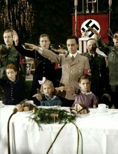 Joseph Goebbels with daughters Hilde & Helga, Christmas 1937.