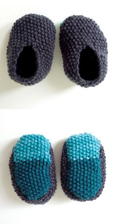 · · trying simple baby knit patterns — erika knight's simple slippers in seed-stich with contrast soles