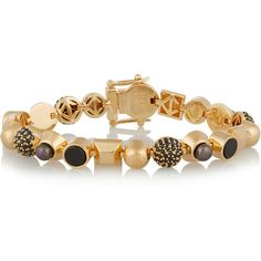 Eddie Borgo Collage gold-plated multi-stone bracelet ($350) ❤ liked on Polyvore featuring jewelry, bracelets, gold, bracelet bangle, eddie borgo, gold plated bangles, eddie borgo bracelet and gold plated jewelry