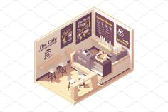 Vector isometric small coffeehouse by tele52 on @creativemarket