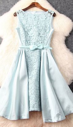 Belted Mint Lace Dress