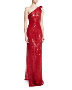 018c343e8c72 Naeem Khan Beaded One-Shoulder Gown with Side Slit