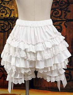 Ruffles Cute Lace Women Costume Pumpkin Cosplay Shorts Lolita Bloomers Bows