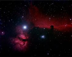Feb 8, 06 Flame (NGC 2024) and Horsehead (Barnard 33) Nebula In Orion.   IC 434 is the bright red emission nebula which runs across the center. Barnard 33 is the dark nebula of interstellar dust which outlines the shape of a horse head. Below and left of B 33 is the blue reflection nebula NGC 2023. The Flame Nebula, NGC 2024 is just below the star Alnitak, which is the left most star in the belt of Orion.  The reflection nebulae IC432 is to the  left of the Flame.  AP130 f/8 @f/6 18x8min UHC…