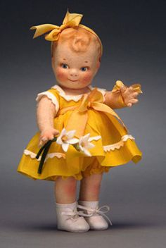 """R John Wright Dolls - Sunshine Scootles¨ 7"""", wool felt, fully jointed. Date of Release: 2004-05. Collector Club Exclusive Limited to the Club year. Total number produced: 807 pieces."""