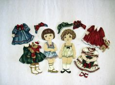 Victorian Paper Doll Fabric | Victorian Christmas Fabric Paper Doll set by KellettKreations