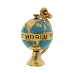 Vintage Enameled Globe 14k Gold Charm