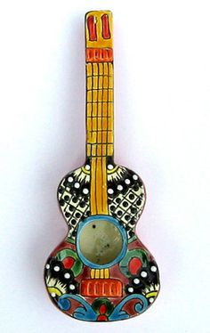 Mexican Talavera Pottery Guitar Sculpture Wall Decor 12 1 4"
