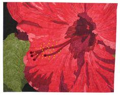 """Red Hibiscus, 26 x 21"""", by Jan Potter, Fiber Artist.  Flower art quilt"""