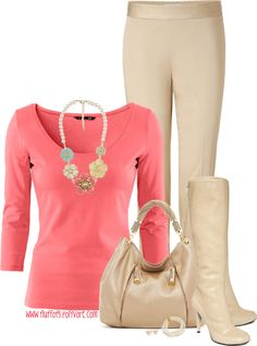 """""""Rockport boot"""" by fluffof5 on Polyvore Just like the coral and light beige combo. Maybe a little turquoise jewelry."""