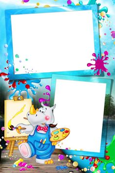Marco Infantil Doble con RInoceronte. School Border, Boarders And Frames, Happy Birthday Photos, School Frame, Kids Background, Baby Frame, Birthday Frames, Art Drawings For Kids, Frame Clipart