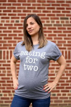 Eating for Two / Drinking for Two Pregnancy Announcement Shirts | Pregnancy Announcement Shirt | Pregnancy Announcement Ideas |  Tees | Tee by CustomWolfpack