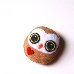 Owl Felt Brooch Big Eyed Owl Baby Felt Pin Red Heart by mikaart $15.99