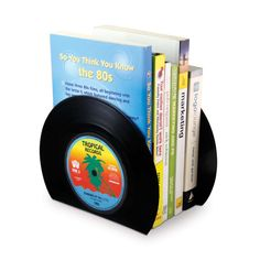 Real vinyl records turned into bookends