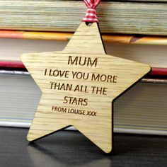 """""""I Love You Mum"""" Wooden Star Mothers Day Gift"""