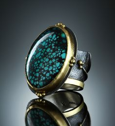 Blue Canyon Mine Turquoise Ring. Fabricated Sterling Silver and 18k. www.amybuettner.com https://www.facebook.com/pages/Metalsmiths-Amy-Buettner-Tucker-Glasow/101876779907812?ref=hl https://www.etsy.com/people/amybuettner http://instagram.com/amybuettnertuckerglasow