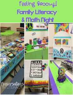 We were Feeling Groovy for our Family Literacy and Math Night! Our Family Night is the same night as Scholastic book fair so we used the same theme they were using for our school literacy night- Feel