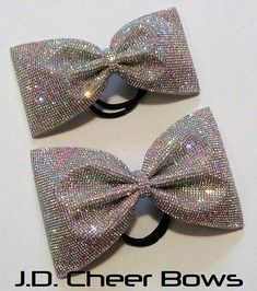 """Mega Bling Victoria Bow in AB Rhinestones 3"""" and 4"""" Tailless, Cheer Bow, Rhinestone Cheer Bow,Tailless Cheer Bow"""