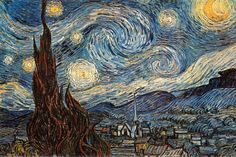 """Starry Night"", c. 1889 by Vincent van Gogh. I see swirly lines as the stars that are chaotic looking. I also see curvy lines in the houses and building that look very energetic and strong."