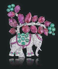 Platinum, Diamond, Ruby, Emerald & Black Onyx Elephant Brooch by Van Cleef & Arpels, 1930s