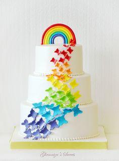 Rainbow Cake Butterfly Birthday Party, Rainbow Birthday Party, Rainbow Wedding, Rainbow Butterfly, Butterfly Cakes, Birthday Goals, Birthday Cake Girls, Rainbow Layer Cakes, Star Cakes