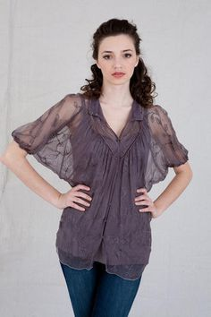 Boho Two Piece  Blouse 20s Bohemian Style Deep Lavender  Downton Abbey Blouse So Romantic Large and Extra Large