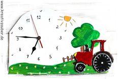 Uhrenbasteln für Traktor Fans ★ Kinderzimmeruhr basteln ★ Bastelset im Shop www.kreativzauber.de