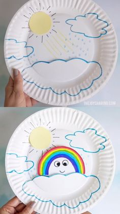 Paper Plate Rainbow Craft : Explain rainbow formation to preschoolers with this fun and easy rainbow craft. via Fun craft to talk about how rainbow is formed. Easy step-by-step rainbow craft tutorial explaining rainbow to children. Paper Crafts For Kids, Craft Activities For Kids, Easy Crafts, Craft With Paper Plates, Easy Toddler Crafts, Rainbow Crafts Preschool, Childrens Crafts Preschool, Children Crafts, Summer Crafts