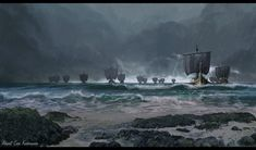 ArtStation - They're coming!, Ahmet Can Kahraman Fantasy Concept Art, New Fantasy, Medieval Fantasy, Fantasy Artwork, Fantasy World, Landscape Concept, Fantasy Landscape, Viking Art, Viking Woman