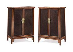 A PAIR OF HUAMU AND NANMU-INSET HUANGHUALI ROUND-CORNER TAPERED CABINETS, YUANJIAOGUI