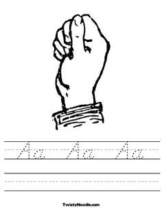 Sign Language Letter Worksheets, Choose: Block, D'Nealian, or Cursive Font with Customizable Text!