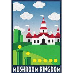 Mushroom Kingdom Retro Travel Poster