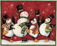 Penguin Chorus Line by Susan Winget snowman, winter, Christmas Christmas Clipart, Christmas Printables, Christmas Pictures, Christmas Snowman, All Things Christmas, Christmas Time, Vintage Christmas, Christmas Holidays, Christmas Crafts
