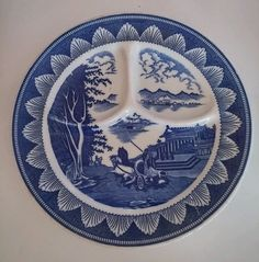 Vintage Japan Asian White Blue Chariot Temple 9.5 in; Grill Grille Segmented Plate  | Pottery & Glass, Pottery & China, China & Dinnerware | eBay!