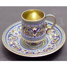 Russian Antique Silver Enamel demitasse cup and saucer