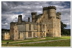 Belsay Castle  Belsay Castle is a 14th century medieval castle situated at Belsay, Northumberland, England. The main structure, a substantial three storey rectangular pele tower with rounded turretts and battlements was constructed about 1370, and was the home of the Middleton family.
